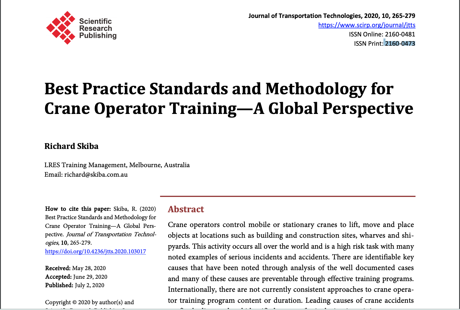 Best Practice Standards and Methodology for Crane Operator Training—A Global Perspective